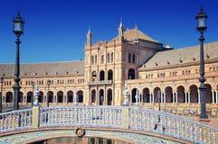 Bridge of Plaza de Espana in Seville, Spain Royalty Free Stock Photo