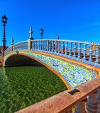 Plaza Espana in Sevilla , Spain. Bridge of Plaza Espana in Sevilla , Spain. Tiled ornaments. Seville (Sevilla), Andalusia, Southern Spain royalty free stock photo