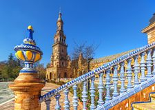 Plaza Espana in Sevilla , Spain. Bridge of Plaza Espana in Sevilla , Spain. Tiled ornaments. Seville (Sevilla), Andalusia, Southern Spain stock photos