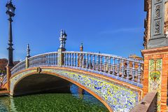 Plaza Espana in Sevilla , Spain. Bridge of Plaza Espana in Sevilla , Spain. Tiled ornaments. Seville (Sevilla), Andalusia, Southern Spain stock image
