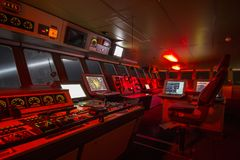 Bridge of a polar research vessel. While cruising at night during a snow storm Stock Images