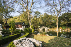 Bridge and pond Royalty Free Stock Images