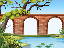 A bridge and a pond royalty free illustration
