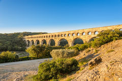 Bridge Pont du Gard over Gardon river Royalty Free Stock Photo
