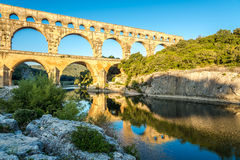Bridge Pont du Gard over Gardon river Royalty Free Stock Photos
