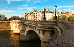 The bridge pont neuf over the Seine river in Paris. Royalty Free Stock Image