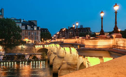 The bridge pont neuf over the Seine river, Paris,France. Stock Photography