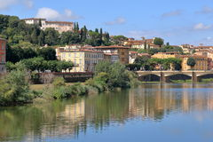 Bridge Ponte alle Grazie over Arno River in Florence, Italy Stock Photography
