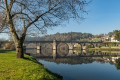 Bridge of Ponte da Barca. Ancient portuguese village, on Minho river, north of Portugal royalty free stock images
