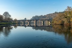 Bridge of Ponte da Barca. Ancient portuguese village, on Minho river, north of Portugal stock images