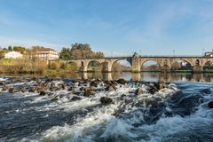 Bridge of Ponte da Barca. Ancient portuguese village, on Minho river, north of Portugal stock image