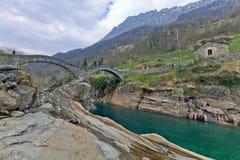 Bridge Ponte dei Salti in the Verzasca Valley, Lavertezzo, Switzerland Royalty Free Stock Photo
