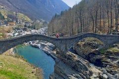Bridge Ponte dei Salti in the Verzasca Valley, Lavertezzo, Switzerland Stock Image