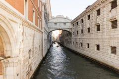 Bridge Ponte dei Sospiri in Venice. Bridge Ponte dei Sospiri over a canal in Venice Stock Photos