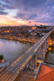 Bridge Ponte dom Luis above Porto , Portugal. Lighted  famous bridge Ponte dom Luis above  Old town Porto at river Duoro at night, Portugal Royalty Free Stock Photo