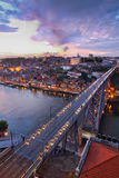 Bridge Ponte dom Luis above Porto , Portugal. Lighted  famous bridge Ponte dom Luis above  Old town Porto at river Duoro at night, Portugal Stock Photography