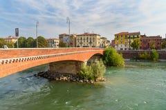 Bridge Ponte Navi over the Adige River in Verona. Italy. Verona, Italy - October 20, 2018: Bridge Ponte Navi over the Adige River stock images
