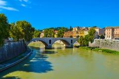 Bridge Ponte Principe Amedeo Savoia Aosta from Ponte Vittorio Emanuele II. In Rome, Italy Royalty Free Stock Photo