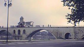Bridge Ponte Saint-Benezet Pont d`Avignon. The famous bridge Pont d`Avignon on the river Petit Rhone. UNESCO World Heritage Site. Archival of Avignon town of stock footage