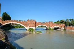 The bridge Ponte Scaligero over the river Etsch in Verona, Italy Royalty Free Stock Images