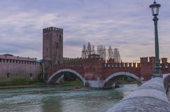 Bridge Ponte Scaligero, Verona, Italy. View of stone bridge Ponte Scaligero in Verona Royalty Free Stock Photography