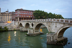 Bridge Ponte Sisto at evening in Rome Stock Photo