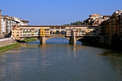Bridge Ponte Vecchio in Florence, Italy. A famous old bridge over the river Arno Stock Images