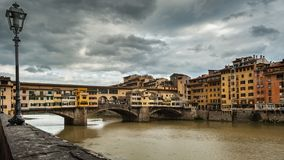 Bridge Ponte Vecchio in Florence on a cloudy day in autumn. Bridge Ponte Vecchio in Florence Italy on a cloudy day in autumn Royalty Free Stock Photo