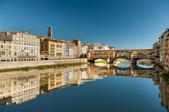 Bridge Ponte Vecchio in Florence on a sunny day in autumn. Bridge Ponte Vecchio in Florence Italy on a sunny day in autumn Stock Photo
