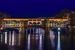 Bridge Ponte Vecchio in Florence at night. Italy Royalty Free Stock Image