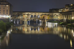 Bridge Ponte Vecchio in Florence at night Stock Images