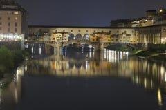 Bridge Ponte Vecchio in Florence at night Stock Images