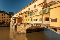 Bridge Ponte Vecchio in Florence on a sunny day in autumn. Bridge Ponte Vecchio in Florence Italy on a sunny day in autumn Royalty Free Stock Images