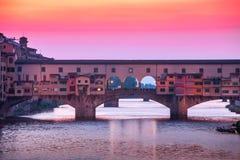 Bridge Ponte Vecchio in Florence at sunset. Italy Royalty Free Stock Photos