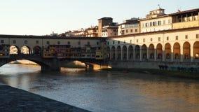 Bridge of Ponte Vecchio over Arno River.  stock video footage