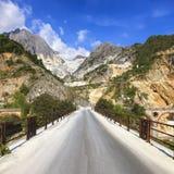 Bridge Ponti di Vara im weißen Marmorsteinbruch, Apuan-Alpen, Carrara Lizenzfreies Stockbild