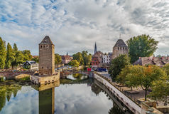 Bridge Ponts Couverts, Strasbourg. View of  medieval bridge Ponts Couverts from the Barrage Vauban in Strasbourg, France Stock Photos