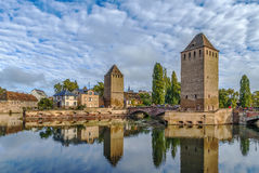 Bridge Ponts Couverts, Strasbourg. View of  medieval bridge Ponts Couverts from the Barrage Vauban in Strasbourg, France Royalty Free Stock Photo