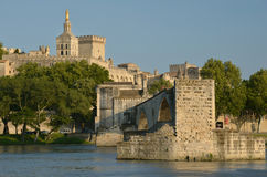 Bridge and Pope's Palace in Avignon Stock Photo