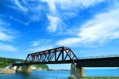 Bridge in Port Daniel in Gaspesie. Port Daniel train bridge during a nice summer day in Gaspesie, Quebec, Canada Royalty Free Stock Images
