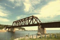 Bridge in Port Daniel in Gaspesie. Port Daniel train bridge in Gaspesie, Quebec, Canada Stock Photos