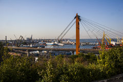 Bridge at the port in Odessa Stock Images