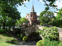 The Bridge in Port Sunlight village near beautiful church. royalty free stock images