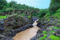 Bridge of the Portuguese on the river Blue Nile. Stock Images