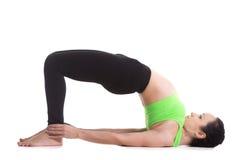 Bridge Pose (Setu Bandhasana). Beautiful sporty girl doing yoga workout, standing in bridge pose, dvi pada pithasana, setu bandhasana, set exercises for Royalty Free Stock Photography