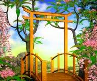 Bridge Premade Chines Background Stock Images