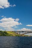 Bridge Preobrazhensky. Professor Preobrazhensky bridge across the Dnieper in Ukraine bright sunny summer day Stock Photography
