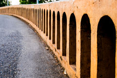 Bridge in public park. Railing detail of bridge in public park, selective focus stock photography