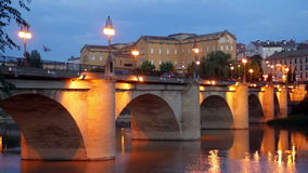 bridge (Puente da Piedra) over Ebro  in Logrono Royalty Free Stock Photos
