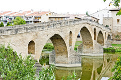 Bridge, Puente La Reina. Romanesque bridge over river Arga, Puente La Reina, Road to Santiago de Compostela, Navarre, Spain royalty free stock photo